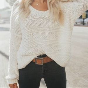 Audrey Cable Knit Oversized Cream Cotton Sweater
